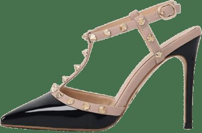 Black Slingbacks Mid High Heels