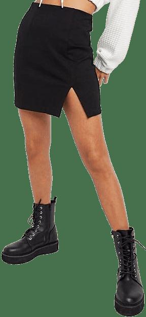 Black Slit Detail Mini Skirt-Stradivarius