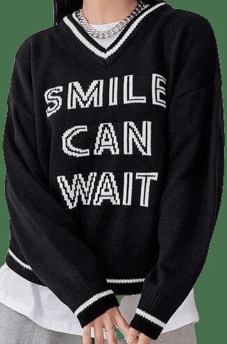 Black Slogan Drop Shoulder Cricket Sweater-DAZY