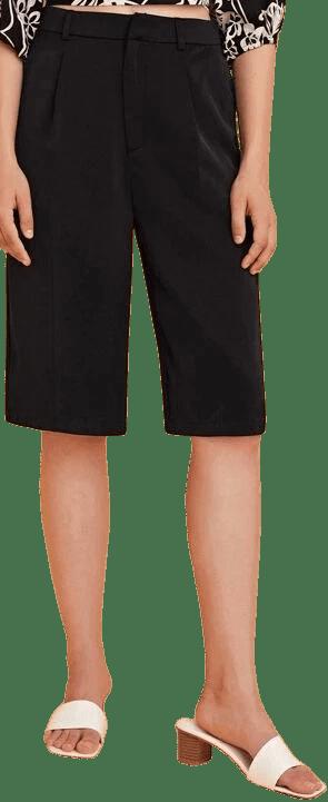 Black Solid Bermuda Shorts-Shein