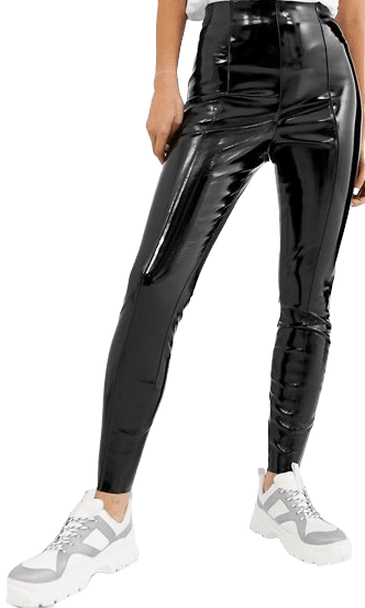 Black Spray On Vinyl Pants-Asos Design