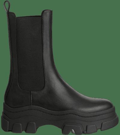 Black Stretch Platform Ankle Boots-Bershka
