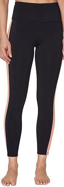 Black Striped Banded Leggings-Betsey Johnson