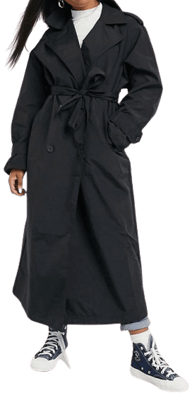 Black Taffeta Trench Coat-Asos Design