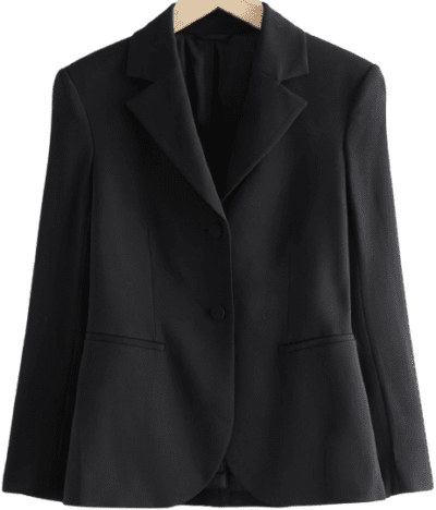 Black Tailored Padded Shoulder Blazer-& Other Stories