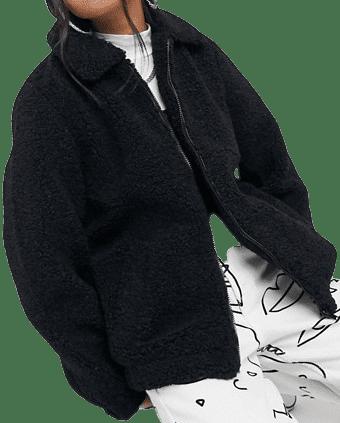 Black Teddy Bomber Jacket-Noisy May