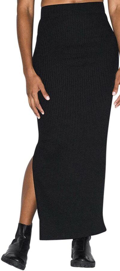 Black Thick Rib Maxi Skirt-American Apparel