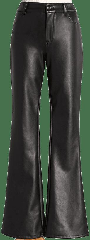 Black Vegan Leather Forever Flared Pants-ModCloth