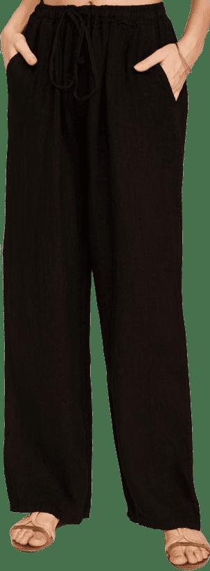 Black Waist-Tie Linen Wide-Leg Pants-Ornella Paris