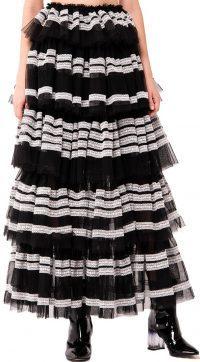 Black-White Lace-Trim Tiered Tulle Skirt-Kikiriki