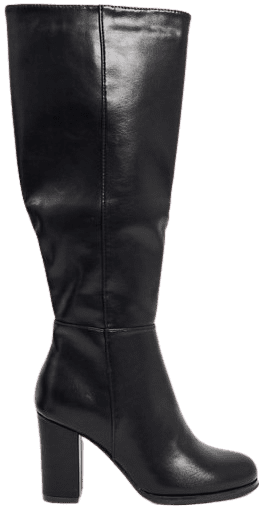 Black Wide Fit Heeled Knee High Boots