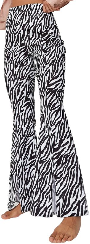 Black Zebra Print Split Front Flared Pants-Missguided