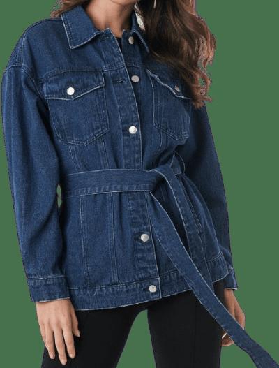 Blue Belted Denim Jacket-NA-KD
