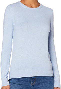 Blue Cotton Crew Neck Sweater-Meraki