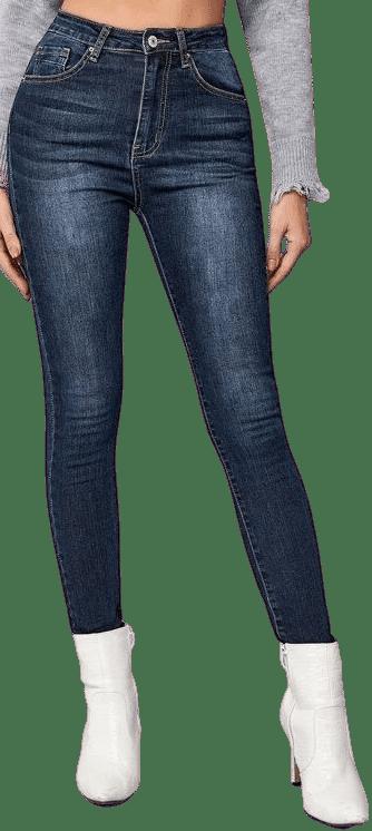 Blue Dark Wash Skinny Jeans-Shein