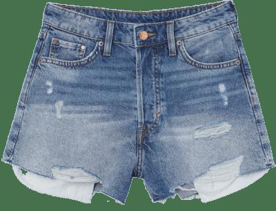 Blue Denim High-Waist Shorts