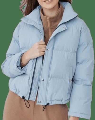 Blue Drawstring Hem Puffer Jacket-Shein