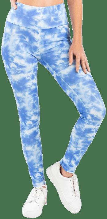 Blue Eliza High Waist Tie-Dye Leggings-francesca's