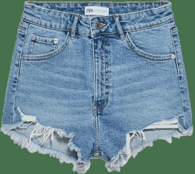Blue Hi Rise Denim Shorts