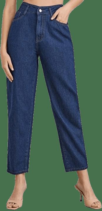 Blue High Waist Mom Jeans-Shein
