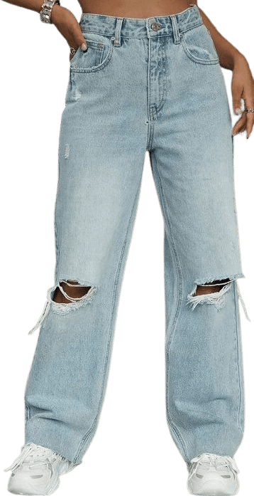 Blue High Waist Ripped Wide Leg Jeans-Shein