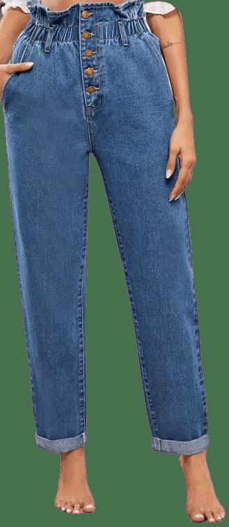 Blue High-Waisted Slant Pocket Rolled Hem Jeans