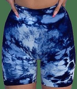 Blue Lash Tie-Dye Workout Bike Shorts