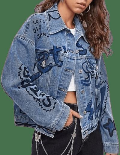 Blue Letter Graphic Drop Shoulder Denim Jacket-Shein