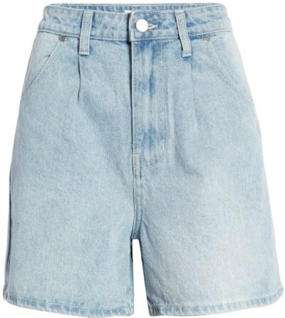 Blue Light Wash High Waist Denim Shorts-BP.
