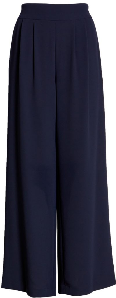 Blue Night Crepe Wide-Leg Pants