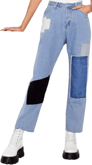 Blue Not Got A Patch On You High-Waisted Jeans-Nasty Gal