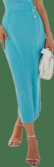 Blue Split Back Knit Skirt-Shein