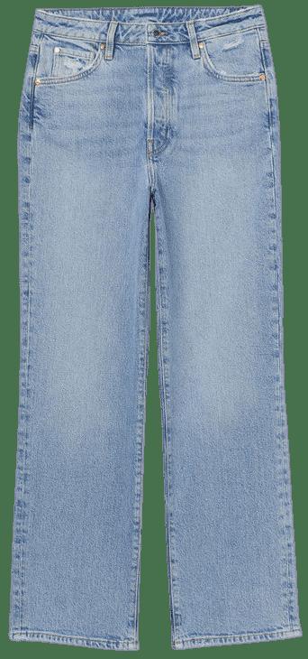 Blue Vintage Straight High Jeans-H&M