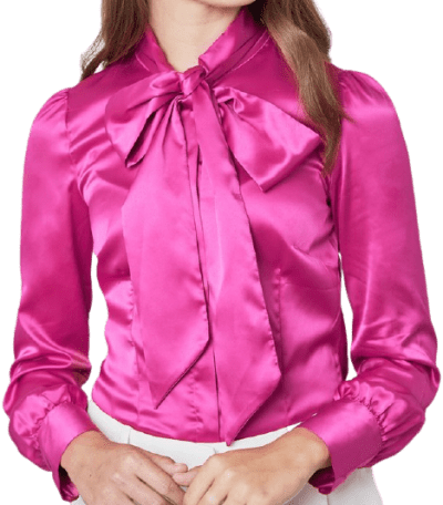 Bright Pink Pussy Bow Fitted Satin Blouse-Hawes & Curtis
