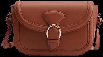 Brown Buckled Flap Bag-Mango