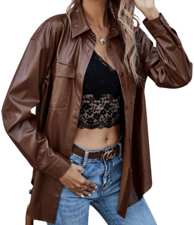 Brown Button Up PU Leather Coat-Shein