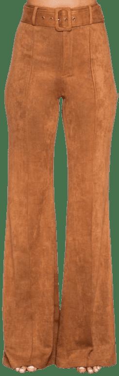 Brown Harley Suede Flare Pants