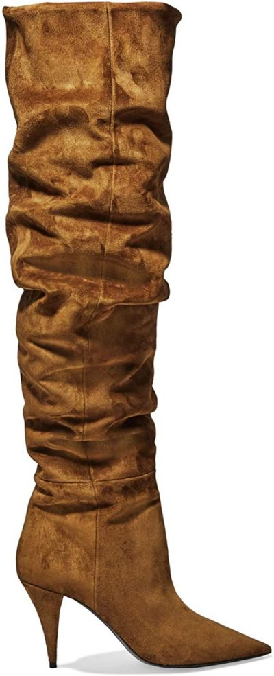 Brown High Stiletto Pointed-Toe Boots