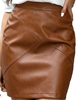 Brown High Waisted Faux Leather Mini Pencil Skirt-Zeagoo