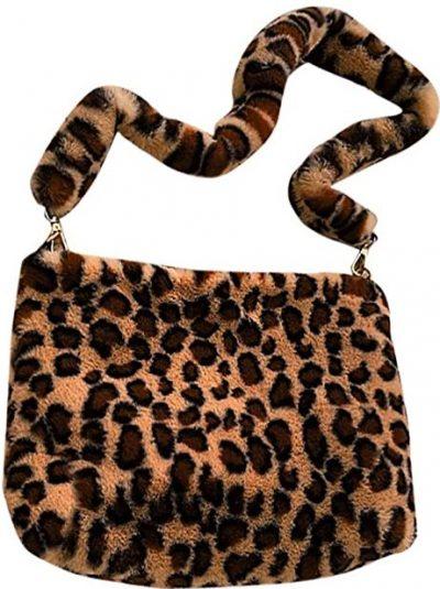 Brown Leopard Plush Handbag