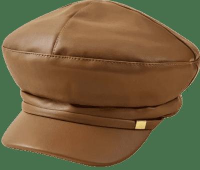 Brown Metal Detail Baker Boy Cap