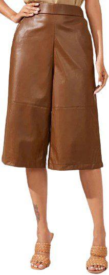 Brown PU Leather Wide Leg Trousers-Shein