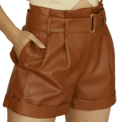 Brown Spice Paper Bag Faux Leather Shorts