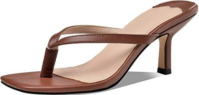 Brown Square Toe Sandals-WETKISS