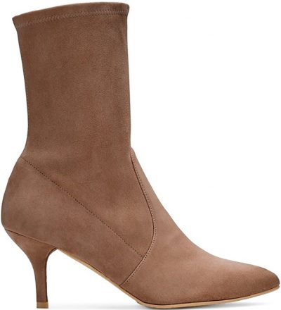 Brown SuedePointed Toe Mid Calf Boots-Divanne