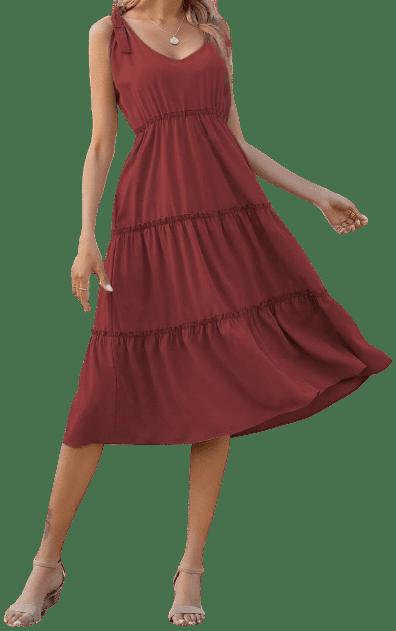 Burgundy Frill Trim Knotted Cami Dress-Shein