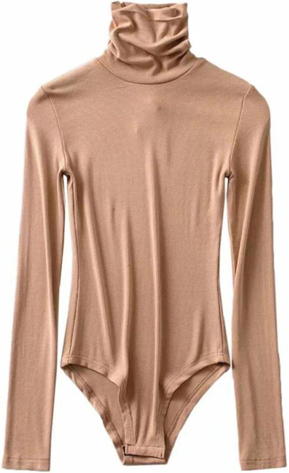 Camel Shin Turtleneck Long Sleeves Bodysuit-Goodnight Macaroon