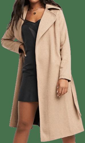 Camel Wrap Coat-Liquorish
