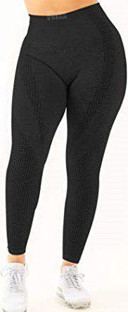 Carbon Black High Waist Workout Leggings-HIGORUN