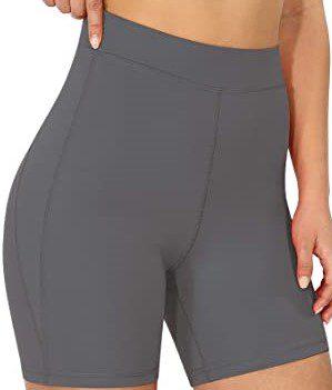 Charcoal High-Rise Yoga Shorts-ODODOS